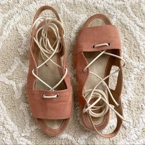 Cinnamon Suede Flat Espadrille Lace-Up Sandals